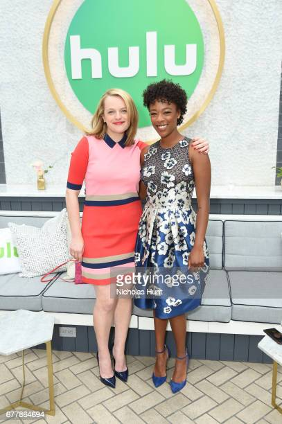 Elisabeth Moss and Samira Wiley attend the Hulu Upfront Brunch at La Sirena Ristorante on May 3 2017 in New York City