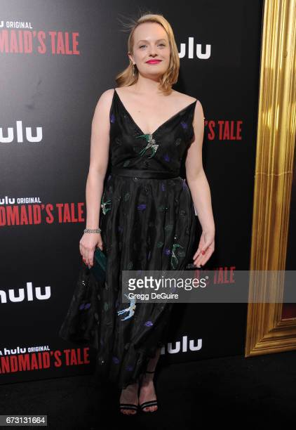 Elisabeth Moss arrives at the premiere of Hulu's 'The Handmaid's Tale' at ArcLight Cinemas Cinerama Dome on April 25 2017 in Hollywood California