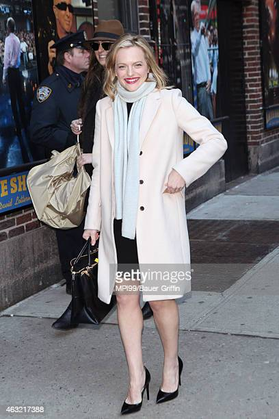 Elisabeth Moss visits Late Show With David Letterman on February 11 2015 in New York City