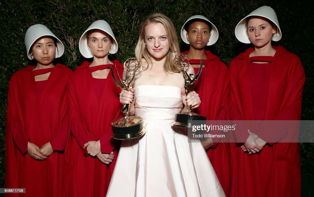 Elisabeth Moss, winner of the awards for Outstanding Drama Series and Outstanding Lead Actress in a Drama Series for 'The Handmaid's Tale' attends Hulu's 2017 Emmy After Party at Otium on September 17, 2017 in Los Angeles, California.
