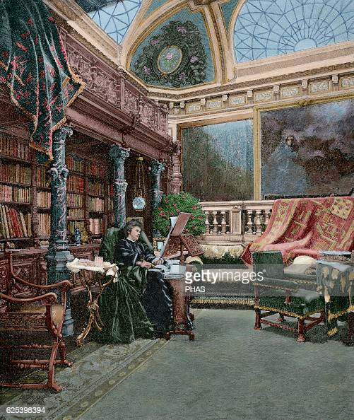 Elisabeth of Wied Queen consort of Romania Carmen Sylva in his study Engraving by Jonnard The Iberian Illustration 1885 Colored