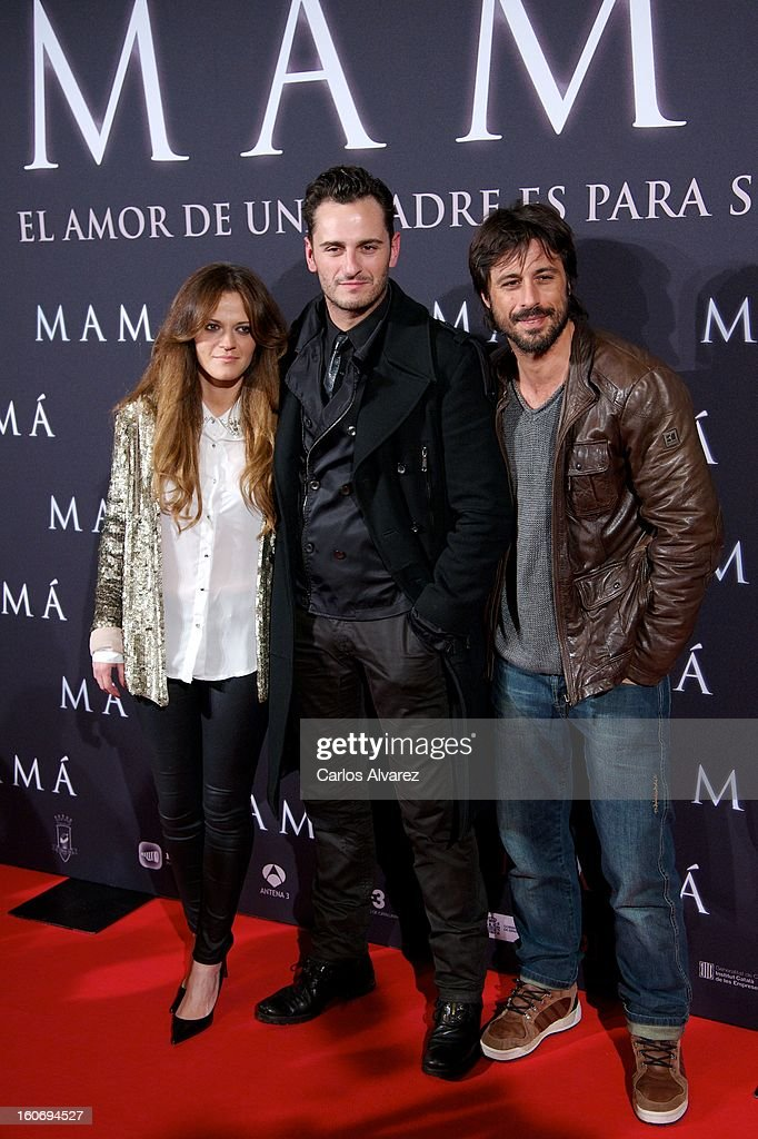 Elisabeth Ojeda, Asier Etxeandia and Hugo Silva attend the 'Mama' premiere at the Callao cinema on February 4, 2013 in Madrid, Spain.