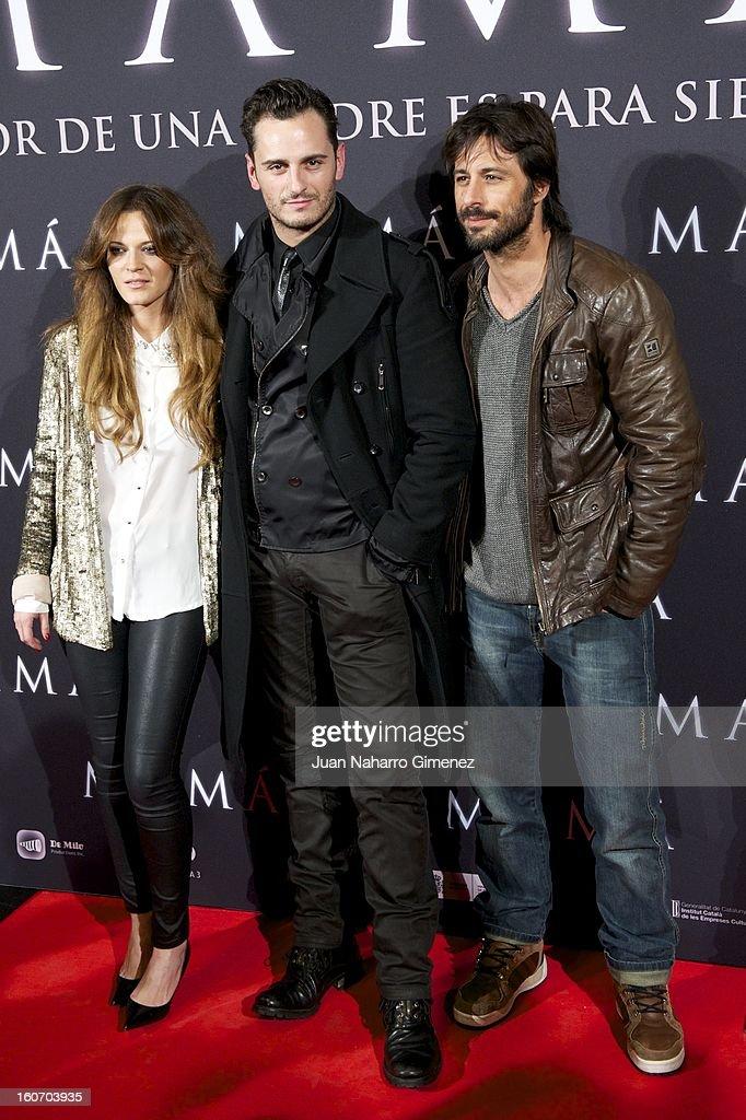 Elisabeth Ojeda, Asier Etxeandia and Hugo Silva attend the 'Mama' premiere at the Callao cinema on February 4, 2013 in Madrid, Spain.
