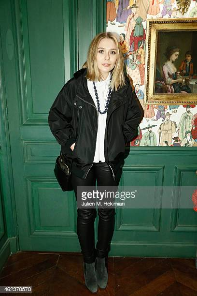 Elisabeth Olsen attends mytheresacom x JJ Martin Cocktail Party on January 27 2015 in Paris France