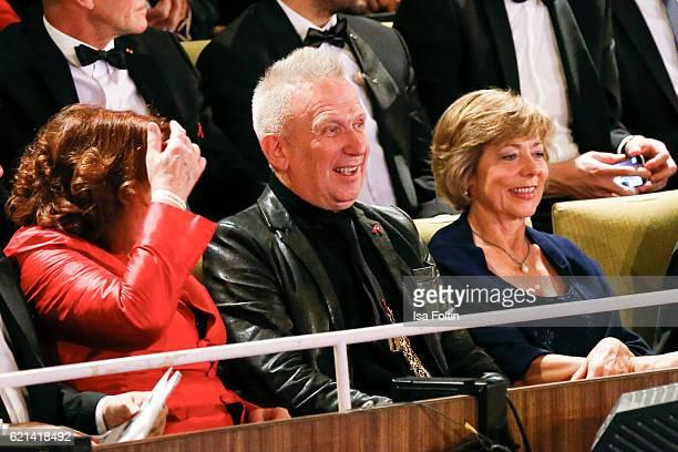 Elisabeth Pott fashion designer Jean Paul Gaultier and Daniela Schadt girlfriend of Joachim Gauck federal president of Germany attend the 23rd Opera...