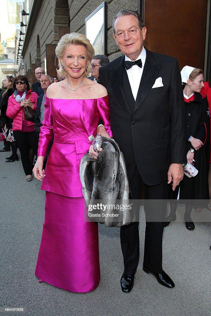Elisabeth Schaeffler and her boyfriend Juergen Thurmann attend the opening of the easter festival 2014 (Osterfestspiele) on April 12, 2014 in Salzburg, Austria.