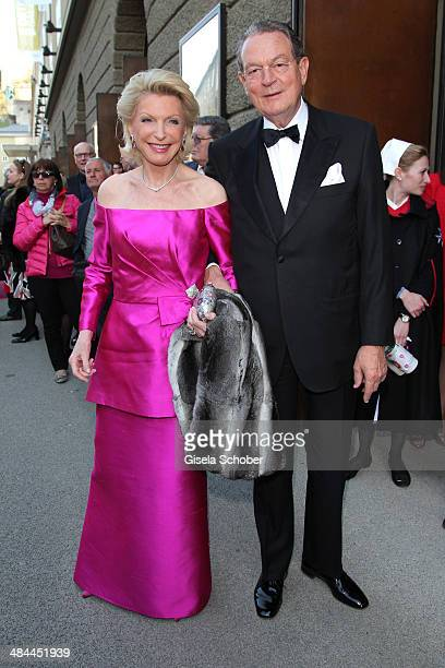 Elisabeth Schaeffler and her boyfriend Juergen Thurmann attend the opening of the easter festival 2014 on April 12 2014 in Salzburg Austria