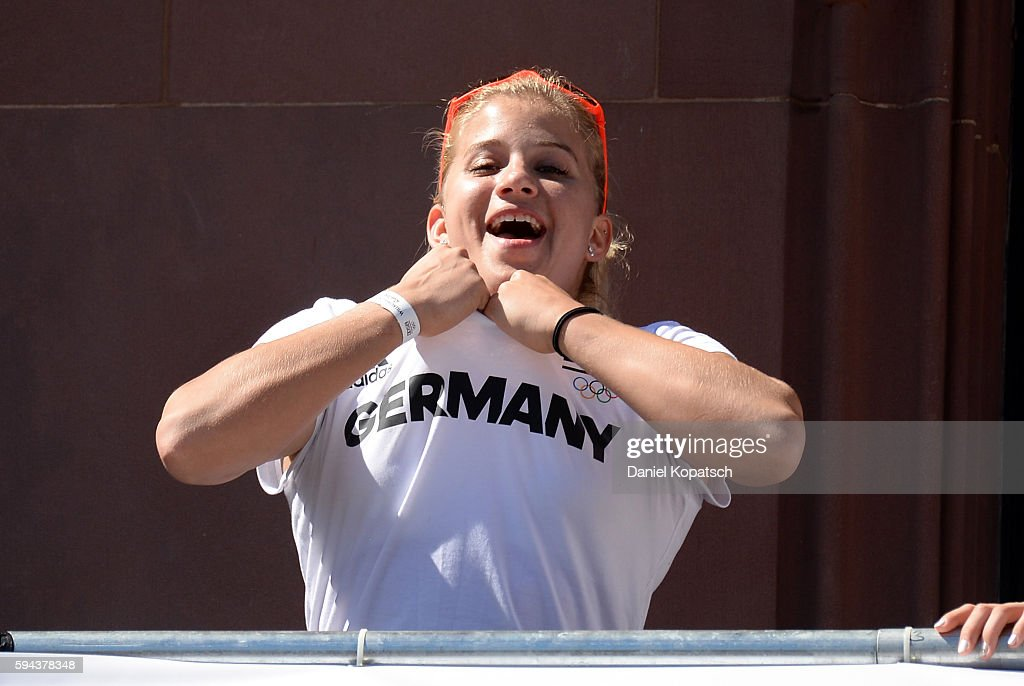Elisabeth Seitz celebrates during the German Olympic Team Welcome Home Reception on August 23 2016 in Frankfurt am MaIN GERMANY