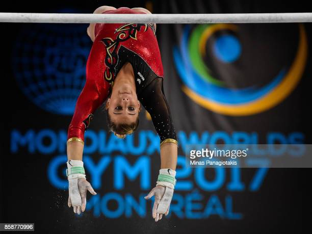 Elisabeth Seitz of Germany competes on the uneven bars during the individual apparatus finals of the Artistic Gymnastics World Championships on...