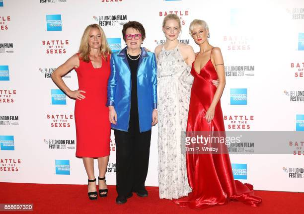 Elisabeth Shue Billie Jean King Emma Stone and Andrea Riseborough attend the American Express Gala European Premiere of 'Battle of the Sexes' during...