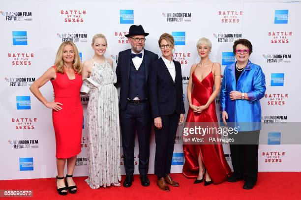 Elisabeth Shue Emma Stone Jonathan Dayton Valeria Faris Andrea Riseborough and Billie Jean King attending the premiere of Battle of the Sexes held at...