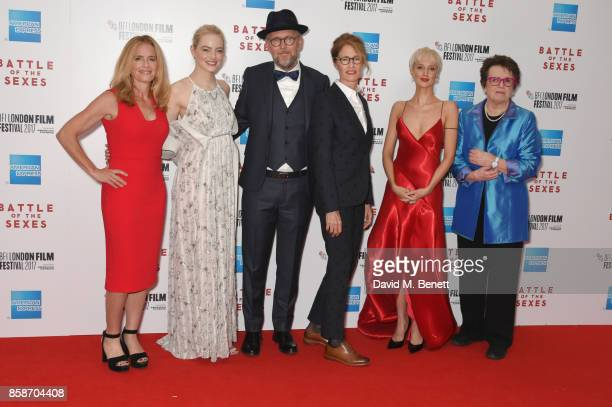 Elisabeth Shue Emma Stone Jonathan Dayton Valerie Faris Andrea Riseborough and Billie Jean King attend the American Express Gala European Premiere of...
