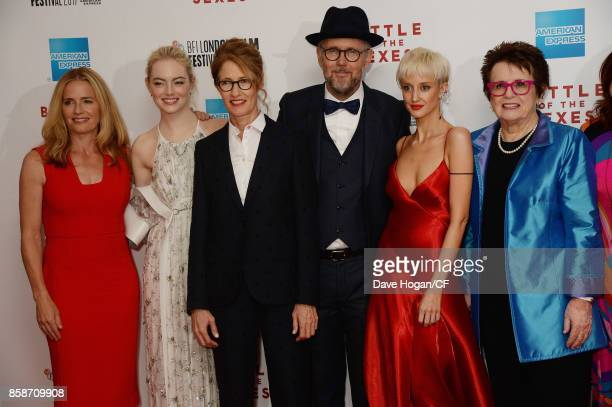 Elisabeth Shue Emma Stone Valerie Faris Jonathan Dayton Andrea Riseborough and Billie Jean King attend the American Express Gala European Premiere of...