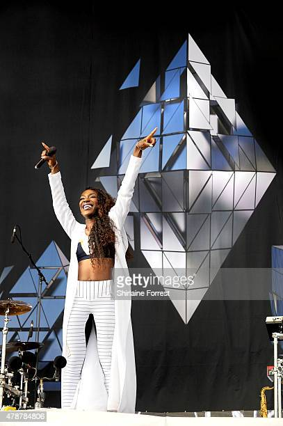 Elisabeth Troy of Clean Bandit performs at the Glastonbury Festival at Worthy Farm Pilton on June 27 2015 in Glastonbury England
