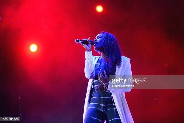 Elisabeth Troy performs with Clean Bandit on stage at Petrovaradin Fortress on July 9 2015 in Novi Sad Serbia