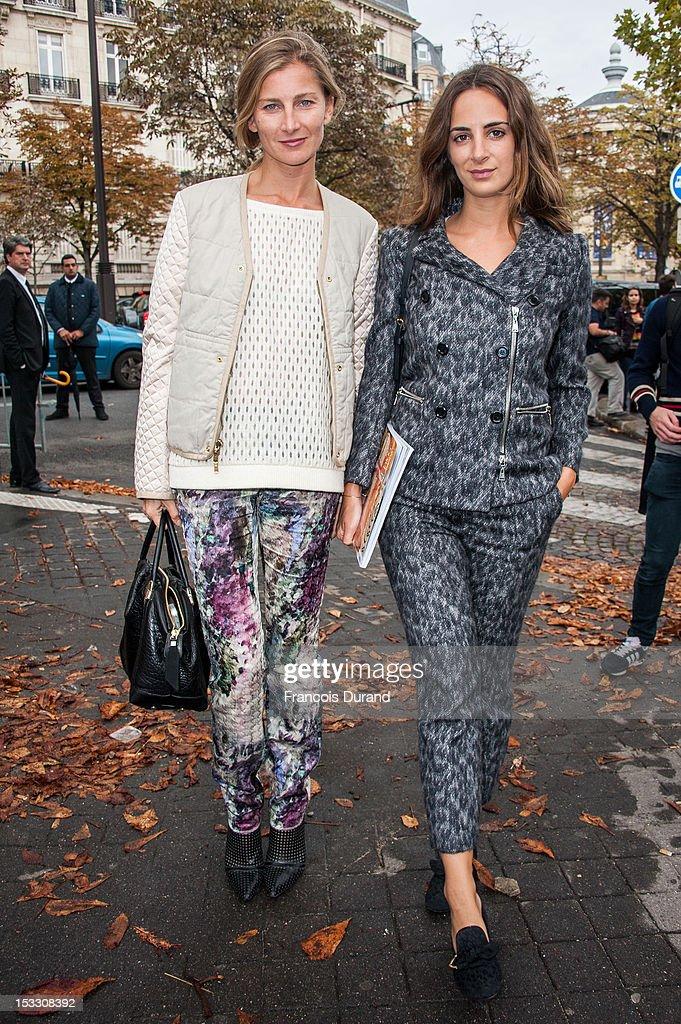 Elisabeth von Guttman (L) and Alexia Niedzielski arrive at the Miu Miu Spring/Summer 2013 show as part of Paris Fashion Week on October 3, 2012 in Paris, France.