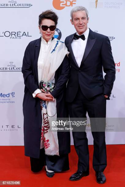 Elisabeth von Molo and Gedeon Burkhard attend the Lola German Film Award red carpet at Messe Berlin on April 28 2017 in Berlin Germany