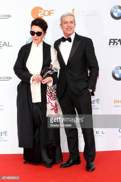 Elisabeth von Molo and Gedeon Burkhard during the Lola German Film Award red carpet arrivals at Messe Berlin on April 28 2017 in Berlin Germany