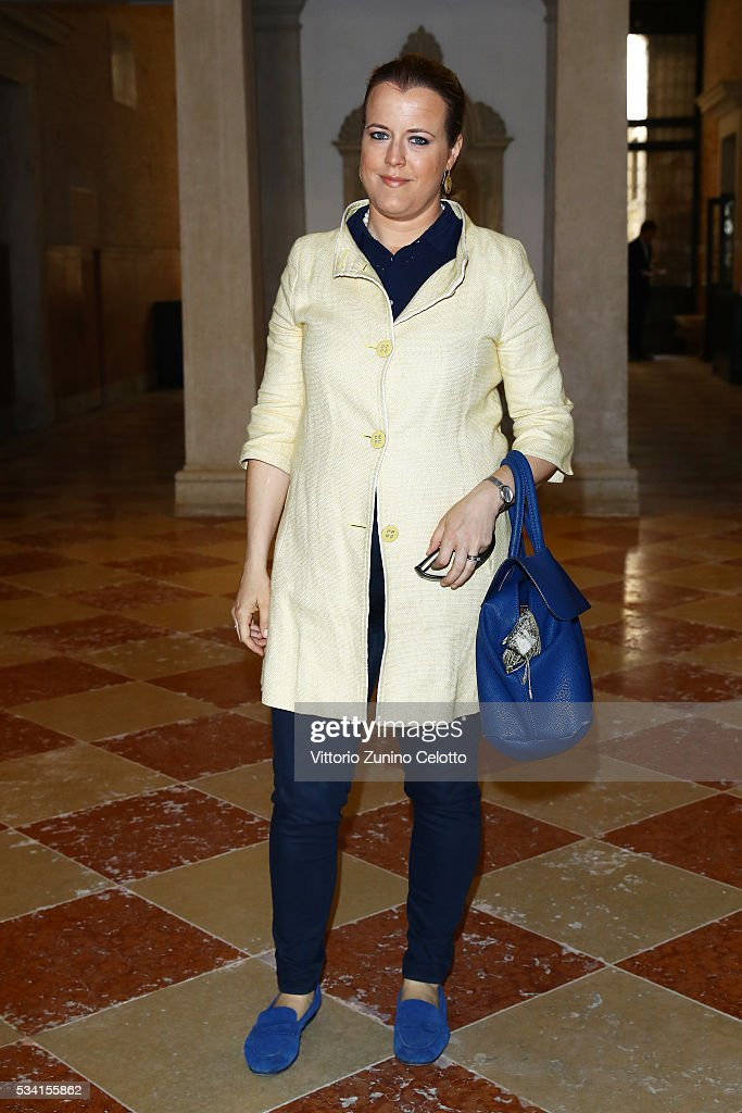 Elisabetta Barisoni attends the private view and lunch of 'Belligerent Eyes' at Fondazione Prada at Ca' Corner della Regina on May 25, 2016 in Venice, Italy.