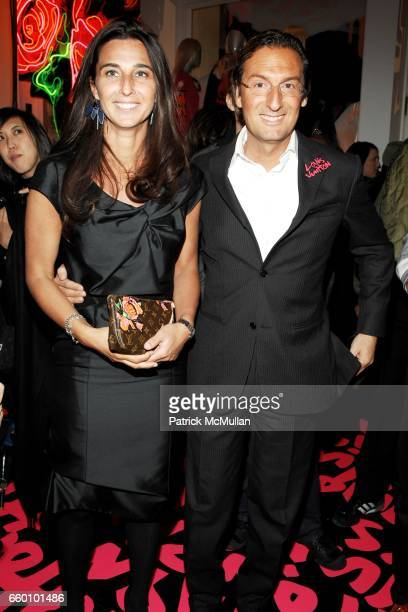 Elisabetta Beccari and Pietro Beccari attend LOUIS VUITTON Tribute to STEPHEN SPROUSE VIP Cocktail Party at Louis Vuitton on January 8 2009 in New...