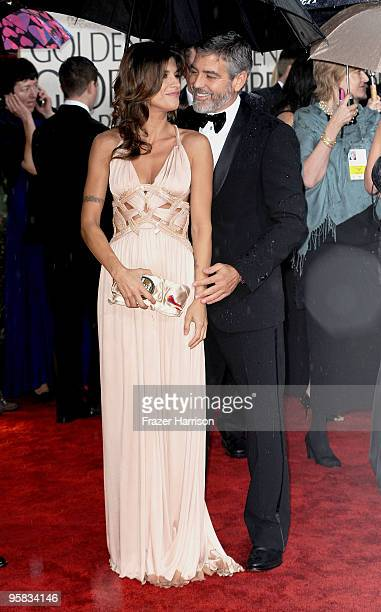 Elisabetta Canalis and actor George Clooney arrive at the 67th Annual Golden Globe Awards held at The Beverly Hilton Hotel on January 17 2010 in...