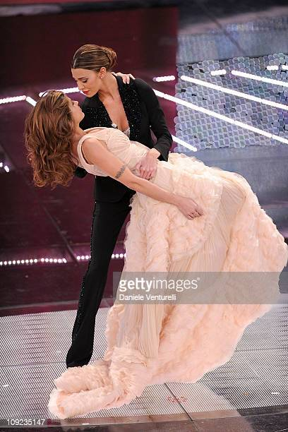 Elisabetta Canalis and Belen Rodriguez attend the 61th Sanremo Song Festival at the Ariston Theatre on February 17 2011 in San Remo Italy