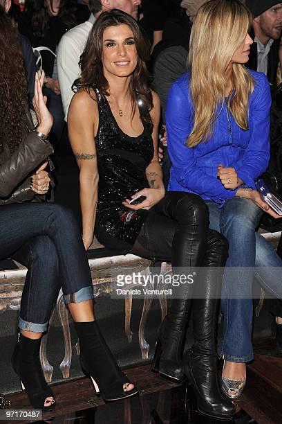 Elisabetta Canalis and Elena Santarelli attends Roberto Cavalli Milan Fashion Week Autumn/Winter 2010 show on February 28 2010 in Milan Italy