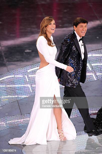 Elisabetta Canalis and Gianni Morandi attend the 61th Sanremo Song Festival at the Ariston Theatre on February 16 2011 in San Remo Italy