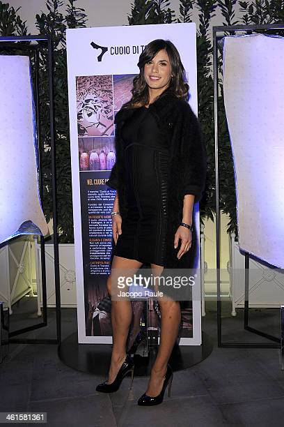 Elisabetta Canalis attend La Qualita Si Fa Arte By Cuoio Di Toscana Pitti Immagine Uomo 85 on January 9 2014 in Florence Italy