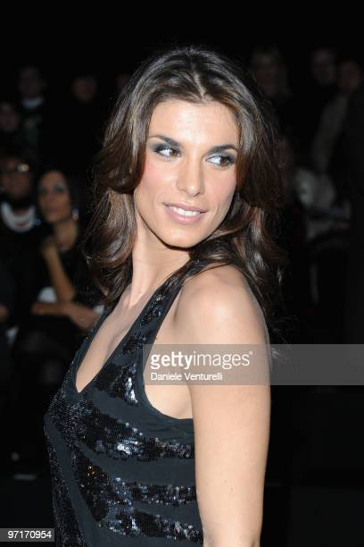 Elisabetta Canalis attends Roberto Cavalli Milan Fashion Week Autumn/Winter 2010 show on February 28 2010 in Milan Italy