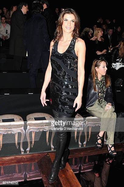 Elisabetta Canalis attends the Roberto Cavalli Milan Fashion Week Autumn/Winter 2010 show on February 28 2010 in Milan Italy