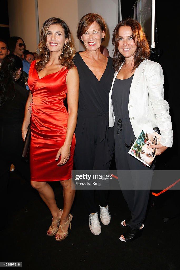 Elisabetta Canalis designer Eva Lutz and Desiree Nosbusch attend the Minx by Eva Lutz show during the MercedesBenz Fashion Week Spring/Summer 2015 at...
