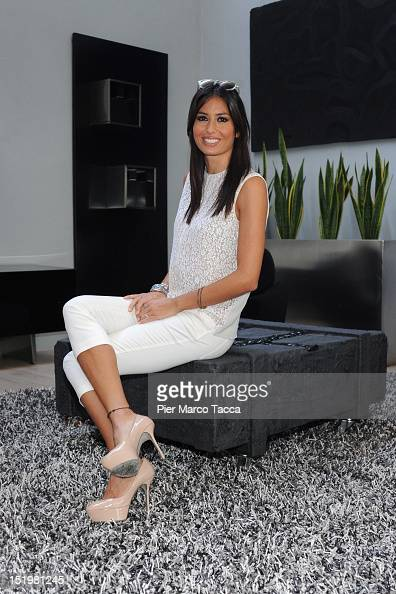 Elisabetta Gregoracci attends a press conference for Italian TV show 'The Apprentice' on September 14 2012 in Milan Italy