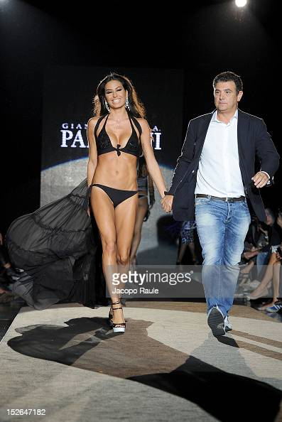 Elisabetta Gregoraci and Andrea Paladini walks the runway at the Gianantonio A Paladini Spring/Summer 2013 fashion show as part of Milan Womenswear...