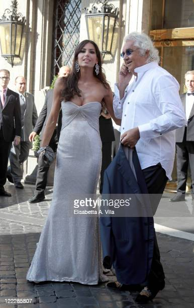 Elisabetta Gregoraci and Flavio Briatore sighted leaving the Hassler Hotel ahead of the wedding of Petra Ecclestone and James Stunt on August 27 2011...