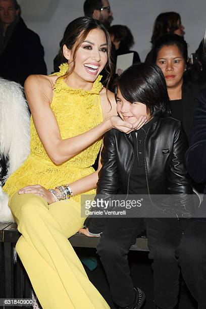 Elisabetta Gregoraci and Nathan Falco Briatore attend the Billionaire show during Milan Men's Fashion Week Fall/Winter 2017/18 on January 16 2017 in...