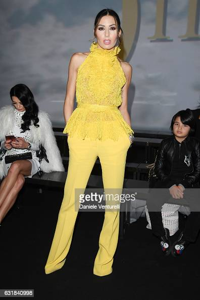 Elisabetta Gregoraci attends the Billionaire show during Milan Men's Fashion Week Fall/Winter 2017/18 on January 16 2017 in Milan Italy