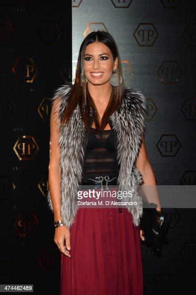 Elisabetta Gregoraci attends the Philipp Plein show as part of Milan Fashion Week Womenswear Autumn/Winter 2014 on February 23 2014 in Milan Italy