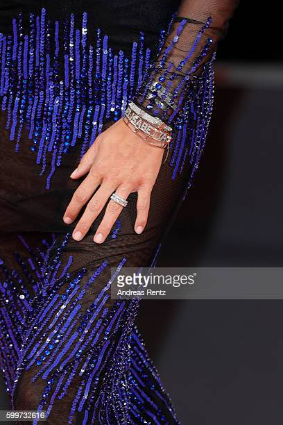 Elisabetta Gregoraci jewellery detail attends the premiere of 'Tommaso' during the 73rd Venice Film Festival at Sala Grande on September 6 2016 in...