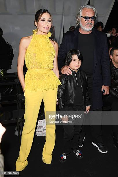 Elisabetta Gregoraci Nathan Falco Briatore and Flavio Briatore attend the Billionaire show during Milan Men's Fashion Week Fall/Winter 2017/18 on...