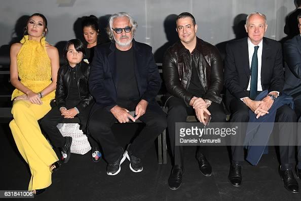 Elisabetta Gregoraci Nathan Falco Briatore Flavio Briatore guest and ing Antonio Percassi attend the Billionaire show during Milan Men's Fashion Week...