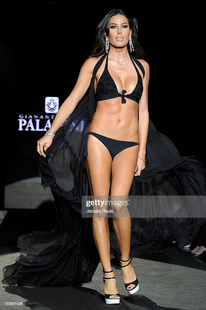 <a gi-track='captionPersonalityLinkClicked' href=/galleries/search?phrase=Elisabetta+Gregoraci&family=editorial&specificpeople=606805 ng-click='$event.stopPropagation()'>Elisabetta Gregoraci</a> walks the runway at the Gianantonio A. Paladini Spring/Summer 2013 fashion show as part of Milan Womenswear Fashion Week on September 23, 2012 in Milan, Italy.