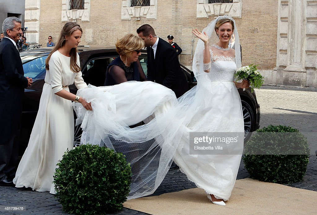 Elisabetta Maria Rosboch von Wolkenstein arrives for her wedding to Prince Amedeo of Belgium at Basilica Santa Maria in Trastevere on July 5, 2014 in Rome, Italy.