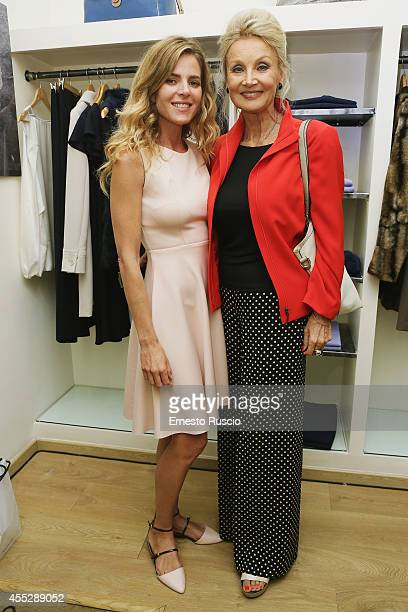 Elisabetta Pellini and Barbara Bouchet sighting at Vogue Fashion Night Out of Rome at Via Del Babbuino on September 11 2014 in Rome Italy