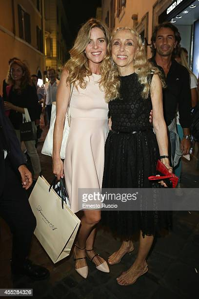 Elisabetta Pellini and Franca Sozzani sighting at Vogue Fashion Night Out of Rome at Via Condotti on September 11 2014 in Rome Italy