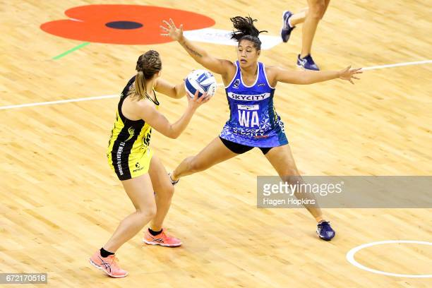 Elisapeta Toeava of the Mystics defends against Claire Kersten of the Pulse during the New Zealand Premiership match between the Pulse and the...