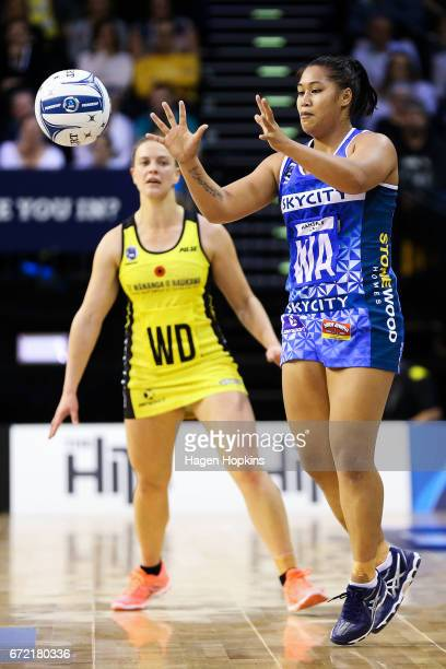 Elisapeta Toeava of the Mystics receives a pass during the New Zealand Premiership match between the Pulse and the Mystics TSB Bank Arena on April 24...