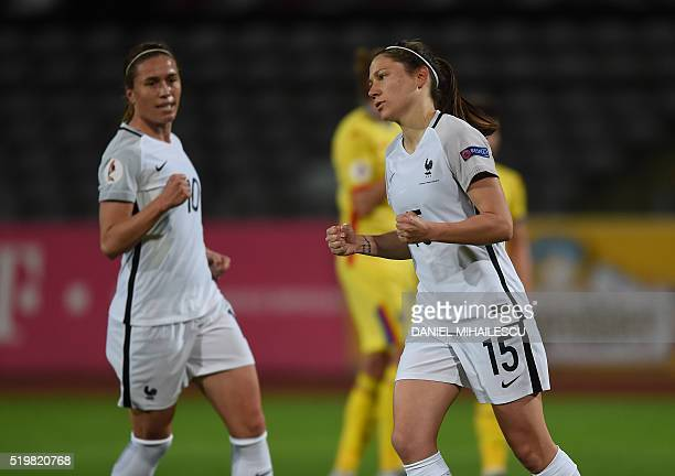 Elise Bussaglia of France celebrates after she scored 10 against Romania during UEFA EURO 2017 women football qualifier match in Pitesti city on...