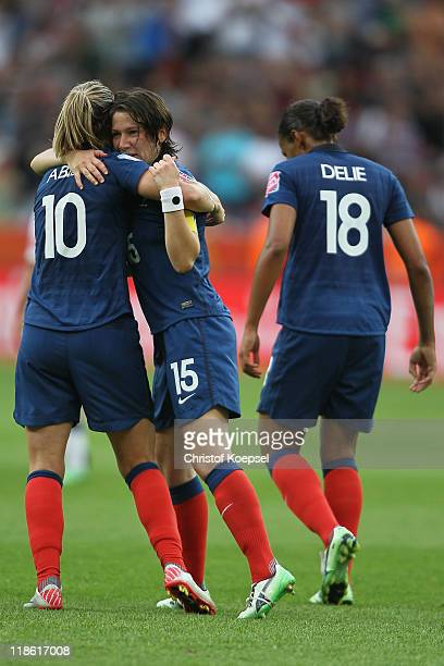 Elise Bussaglia of France celebrates the first goal with Camille Abily of France during the FIFA Women's World Cup 2011 Quarter Final match between...
