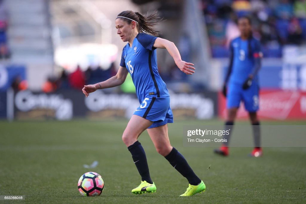 Elise Bussaglia #15 of France in action during the France Vs Germany SheBelieves Cup International match at Red Bull Arena on March 4, 2017 in Harrison, New Jersey.